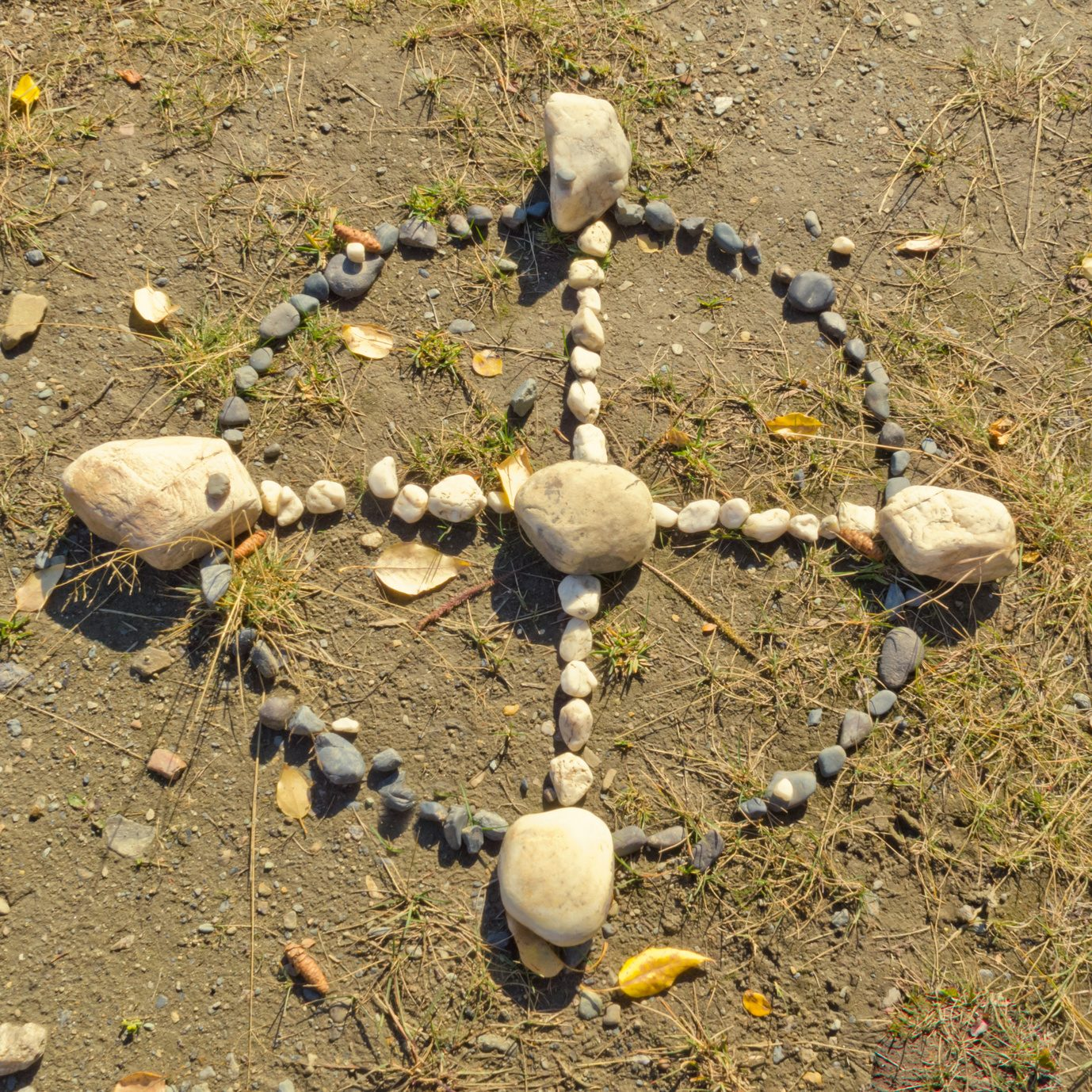 Native American Medicine Wheel or Sacred Hoop formed from stones on the ground